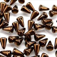 Spike Beads (Шипы) - Бусины чешские стеклянные 5х8мм, 14415 - черный с покрытием бронзовый глянцевый непрозрачный (25 шт)