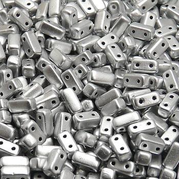 Brick Beads (Кирпичи) - Бусины чешские стеклянные двухдырчатые прямоугольники 3х6мм, 01700 - серебряный металлик матовый (50 шт)