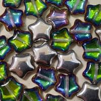 Star Beads (Звездочки) - Бусины чешские стеклянные 12мм, 26601 - хрусталь полупрозрачный зеленый морской (6шт)