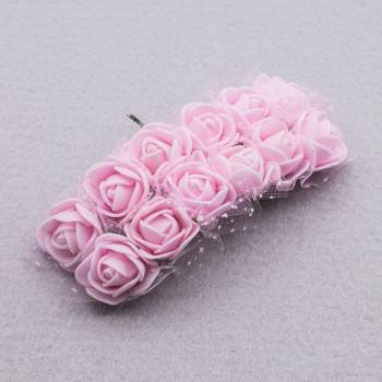 Розочки на проволоке с сеточкой 2 см, букет 12 роз, фоамиран (светло-розовый)