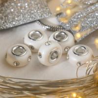 Евро Бусина Диоды, цвет белый в серебре   4448178, 1 шт.