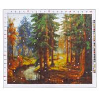 Канва для вышивания с рисунком Карл Розен. Река в лесу, 47 х 39 см