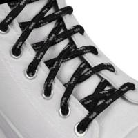 Шнурки для обуви, круглые, d = 4,5 мм, 120 см, цвет чёрно-серый, 1 пара