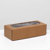 Коробка самосборная, с окном, бурая, 32 х 13 х 9 см 4832237