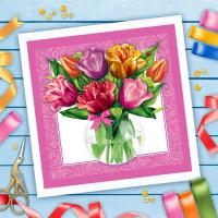 Набор для вышивки лентами Тюльпаны размер основы 35*35 см   1926088