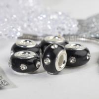Евро Бусина Диоды, цвет чёрный в серебре   4448180, 1 шт.