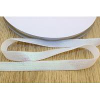 Бархатная лента с люрексом 10мм - белый, 1м