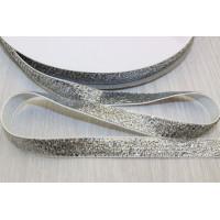 Бархатная лента с люрексом 10мм - серебряный, 1м