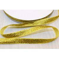 Бархатная лента с люрексом 10мм - золотой, 1м