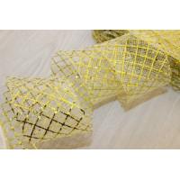 Регилин плоский мягкий Клетка, 45мм,1м, цвет кремовый в золотую клетку