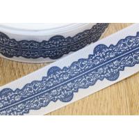 Лента репсовая 25мм с рисунком - Темно-синее Кружево на белом, 1 м