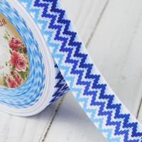 Лента репсовая 25 мм с рисунком - Зигзаг синий/голубой, 1 м