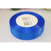 Лента репсовая 25мм однотонная - синий василек, 1м
