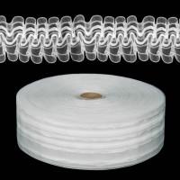 Шторная лента классическая, органза, 60мм, цвет белый, 1м