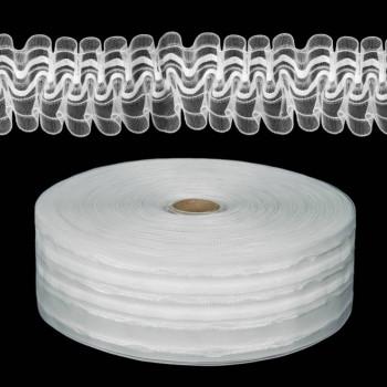 Шторная лента классическая, органза, 6 см, цвет белый, 1м