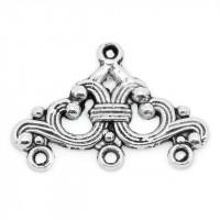 Коннектор 1->3 с орнаментом, 24х16мм, античное серебро, 1шт