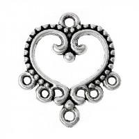 Коннектор 1->5 с орнаментом, 19х21мм, под серебро, 1шт