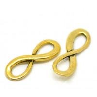 Коннектор 1->1 в форме знака бесконечности, 23х8мм, под золото, 1шт