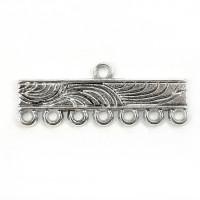 Коннектор 1->7 с орнаментом волны, 30х11мм, античное серебро, 1шт