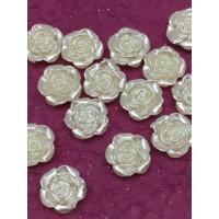 Полубусины под жемчуг в форме Розы, пластик, 12мм/DE20, уп. 20гр, цвет №41 - слоновая кость