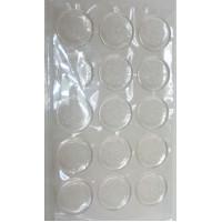 Основы - круги из эпоксидной смолы с клеевым слоем - прозрачные с серебряными блестками 25 мм, уп. 15 шт.