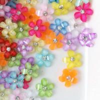 Декоративные цветы из смолы 9мм, 1шт, в ассорт.
