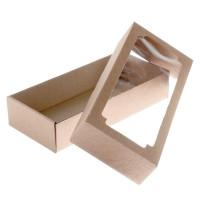 Коробка сборная, с окном, бурая, 24х11х4,5 см