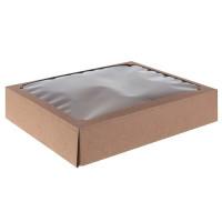 Коробка сборная без печати крышка-дно с окном, бурая, 29х23,5х6 см