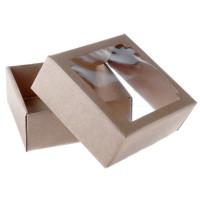 Коробка сборная с окном, бурая, 14,5х14,5х6 см