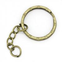 Основа для брелка, 25х50мм, кольцо двойное с цепочкой, под бронзу, 1 шт