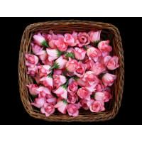 Головка розы 2см тканевая на пластиковой ножке, розовый, 1шт