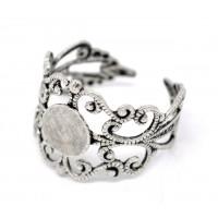 Основа для кольца, регулируемого размера, ажурная с платформой диаметром 8мм, под серебро, 1шт
