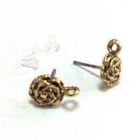 Пусеты (гвоздики) в форме розы с петелькой, 13х10мм, под черненное золото, 1 пара