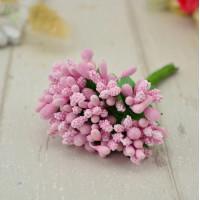Бутоньерка - букетик тычинок (12 веточек) - светло-розовый