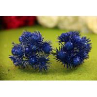 Букетик тычинок глиттерные цветочки, 12 головок - т. синий