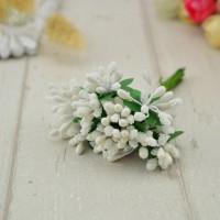 Бутоньерка - букетик тычинок (12 веточек) - белый