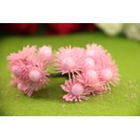 Букетик тычинок глиттерные цветочки, 12 головок - розовый