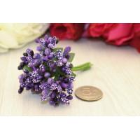Бутоньерка - букетик тычинок, фиолетовый, 12 веточек