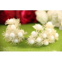 Букетик тычинок глиттерные цветочки, 12 головок - белый