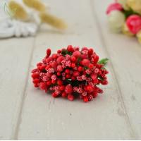 Бутоньерка - букетик тычинок (12 веточек) - красный