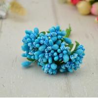 Бутоньерка - букетик тычинок (12 веточек) - голубой