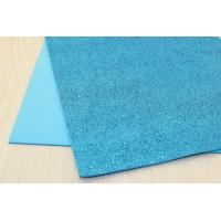 Глиттерный фоамиран EVA, толщина 2мм, 20х30 см - Голубой, 1 лист