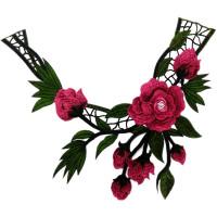 Воротничок кружевной с цветочным рисунком 33х38см, 1шт