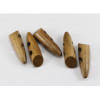 Пуговица деревянная удлинённая 46мм с 2-мя отверстиями, светло-коричневый, 1шт