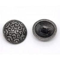 Пуговица 20мм металл на ножке, круг матовый с волнистым орнаментом, цвет никель, 1шт