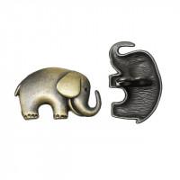 Пуговица 25х15,5мм металл на двойной ножке, Слон, цвет бронза, 1шт