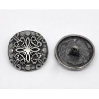 Пуговица 23мм металл на ножке, круг матовый с орнаментом, цвет никель, 1шт