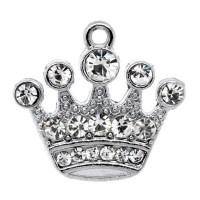 Подвеска 45 Корона 21х20мм под никель (т.серебро) со стразами, 1шт
