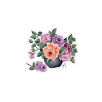 Трансфер универсальный Cadence Букет роз в горшочке большой 17х25см, 1 лист