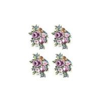 Трансфер универсальный Cadence Лиловые цветы с птичкой малые 17х25см, 1 лист
